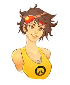 bare_shoulders brown_eyes brown_hair casual earrings freckles goggles highres jewelry lips looking_at_viewer overwatch short_hair simple_background smile solo superboin tank_top tracer_(overwatch) upper_body white_background Overwatch Short, Overwatch Comic, Overwatch Fan Art, Overwatch Memes, Alita Battle Angel Manga, Character Art, Character Design, Overwatch Wallpapers, Video Games Girls