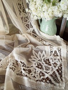 "Gorgeous Pair Victorian Antique Batteburg Net Lace Curtains 111"" X 39"" ea  Vintageblessings"