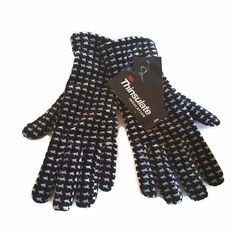 Womens Thinsulate Gloves Black White Houndstooth Velvet One Size NWT #Thinsulate #WinterGloves