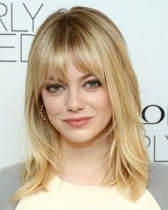 Emma Stone Medium Layered Hair with Bangs - Let me guess, I can only pull this off with fine hair Layered Hair With Bangs, Medium Layered Hair, Thick Hair, Medium Cut, Mid Length Hair With Bangs, Hair Cuts For Medium Hair With Bangs, Long Layered, Shoulder Length Hair Bangs, Medium Waves