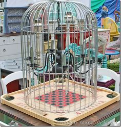 Custom made birdcage chandelier