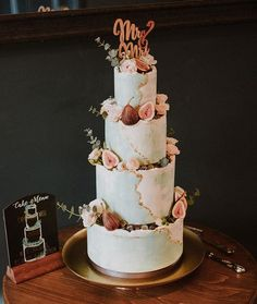 4 tall tiers of watercolour buttercream covered joy! Seams of gold leaf and finished with my very favourite edible decoration; some gilded figs. Georgian Townhouse, Buttercream Wedding Cake, Cake Art, Sugar, Figs, Gold Leaf, Creative, Watercolour, Instagram Posts