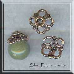 Antiqued Brass Vintage Design Delicate Bead Cap with Ring 4 pieces Made in the USA