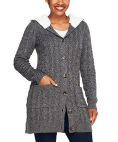 This Fall Gray Sherpa-Trim Button-Up Sweater Cardigan - Plus Too by Denim & Co. is perfect! #zulilyfinds