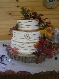 Birch tree fall wedding cake