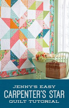 The Carpenter's Star has never been easier thanks to Jenny Doan's simplified version of this classic which uses half-squ Layer Cake Quilt Patterns, Layer Cake Quilts, Star Quilt Patterns, Easy Quilt Patterns Free, Big Block Quilts, Star Quilts, Easy Quilts, Star Quilt Blocks, Amish Quilts