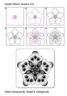 by step Kritzeln Zentangle Drawings, Doodles Zentangles, Mandala Drawing, Doodle Drawings, Easy Zentangle, Tangle Doodle, Tangle Art, Zen Doodle, Doodle Art Designs