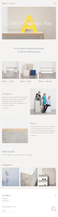 Basic is an interior design company from germany creating furnitures & beautiful space, awarded for its modern minimal webdesign as site of the day – sotd. Web Design Company, Ux Design, Layout Design, Graphic Design, All Modern Furniture, Furniture Design, Furniture Logo, Funky Furniture, Classic Furniture