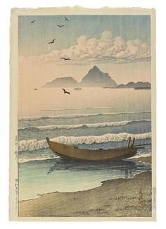 Colour woodblock print entitled Boshu Kamogawa (Kamogawa river, Awa province), depicting a boat on the shore: Japan, by Kawase Hasui, 1934
