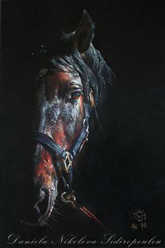 "Daniela Nikolova-Sidiropoulou    Horse art  ""Entendido XXXIV""-photo Caballos Mayoral 35/50cm pastel pencil"