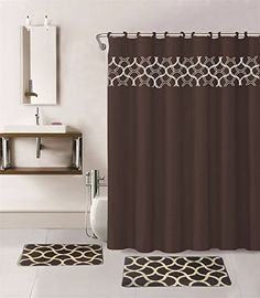 Gorgeous Home 15PC BROWN GEOMETRIC DESIGN BATHROOM BATH MATS SET RUG CARPET SHOWER CURTAIN HOOKS NONSLIP ** Check out this great product.