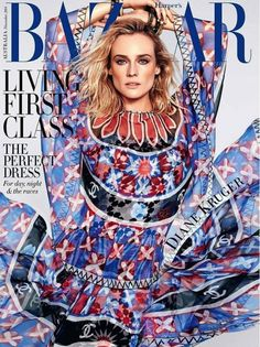 Diane Kruger wearing a Chanel dress on the cover of Harper's Bazaar Australia. #style #fashion #celebrity