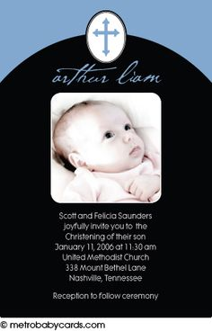 Photo Baptism/Christening Invitations :: Little One Blue Design