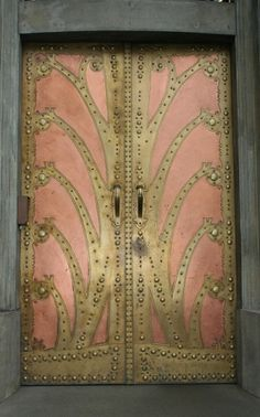 Copper and brass ornate doors.