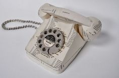 Vintage phone by Jennifer Collier  ~ made of paper & sewn together....very cool!