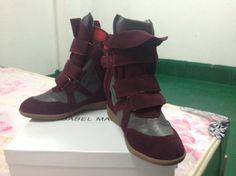 Isabel Marant Wedge Sneakers High Top Suede Leather Claret Grey  $172.00