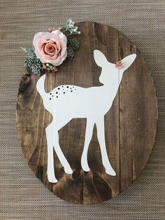 Fawn Rustic Wall Decor with Large Rose and succulents, Woodland Nursery, Girl Nursery, Enchanted Forest Nursery - All Things For Baby And Kids, Woodland Nursery Girl, Woodland Bedroom, Baby Girl Nursery Themes, Rustic Nursery, Boho Nursery, Rustic Wall Decor, Woodland Baby, Baby Room Decor, Deer Themed Nursery