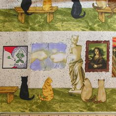 "Cats at the art museum fabric - kitties are looking at ""real"" paintings with a feline twist <3"