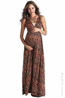 Lilac Maternity Tribal Print Maxi Dress