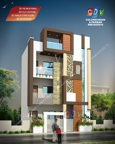 Duplex House Design, Apartment Design, Modern House Design, House Outside Design, House Front Design, Building Elevation, House Elevation, Modern House Facades, Modern Houses