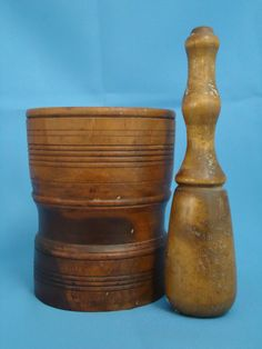 Antique Wood Mortar and Pestle