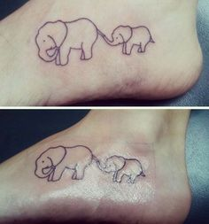 An adorable mother and baby elephant tattoo
