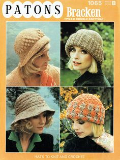 Items similar to PDF Vintage Womens Ladies Cloche Hat Knitting Pattern Patons 1065 Cable Floppy Retro Winter Variety 4 Boho Classic Beanie EASY on Etsy Knitting Wool, Easy Knitting, Vintage Knitting, Vintage Crochet, Double Knitting Patterns, Cloche Hat, Hats For Women, Ladies Hats