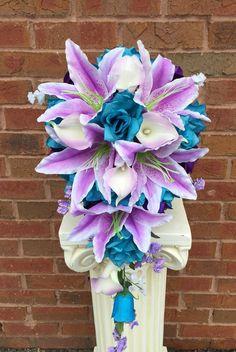 Cascade Bouquet- Turquoise(Malibu), Purple, White Bouquet