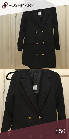 New Button Down Suit Black Dress New Button Down Suit Black Dress. Long sleeve. Gold buttons. Never worn. 100% polyester Missguided Dresses
