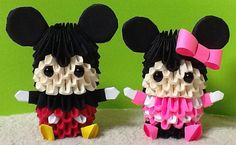 3D origami Mickey and Mini Mouse model pair by 3Dorigamidreambank