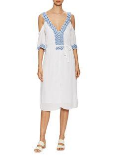 Marabelle Embroidered V Neck Flared Dress