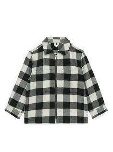 Checked Zip Shirt - Black/White - Tops - ARKET GB Black And White Tops, Straight Cut, Toddler Boys, Organic Cotton, Raincoat, Blazer, Zip, Shirts, Layering