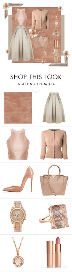 """La Mode...: champaign n rosé"" by lamodelle ❤ liked on Polyvore featuring Jaclyn Smith, Coast, Jonathan Simkhai, Dolce&Gabbana, Christian Louboutin, Valentino, Michael Kors, Allurez, Charlotte Tilbury and Pink"