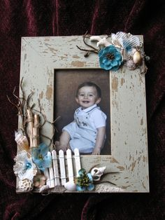 Altered Photo Frame 4 x 6, Picture Frame, Mixed Media, Seascape, Home Decor, Shabby Chic, Vintage
