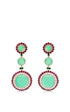 One of a kind chrysoprase, Burma ruby and diamond earrings by Abellan New York