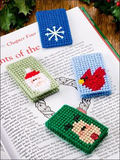 Christmas Traditions in Plastic Canvas from e-patternscentral.com Plastic Canvas Christmas, Plastic Canvas Crafts, Plastic Canvas Patterns, Plastic Craft, Canvas Designs, Canvas Ideas, Crafts To Make, Arts And Crafts, Cross Stitch Bookmarks