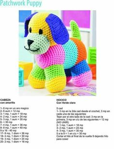 Perro multicolor 2 - Her Crochet Crochet Baby Toys, Cute Crochet, Crochet Animals, Baby Knitting, Crochet Bunny, Baby Patterns, Doll Patterns, Dog Crafts, Crochet World