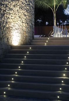 Recessed lighting on steps