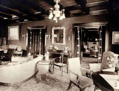 The formal living room in Glensheen mansion, the right doorway connects to the library and the left doorway goes to the main hall. photo from 1910