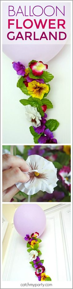 Learn to make this Balloon Flower Garland. This is a perfect party decoration for a girl birthday, baby shower, bridal shower or wedding. It can also work as a party backdrop or photo booth prop. | CatchMyParty.com