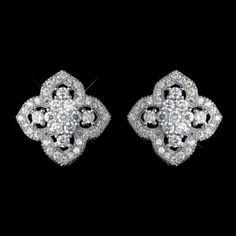 Elegance By Carbonneau Vintage Look Stud Cz Wedding Earrings $55