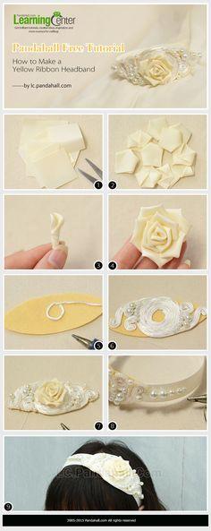 Pandahall Free Tutorial - How to Make a Yellow Ribbon Headband