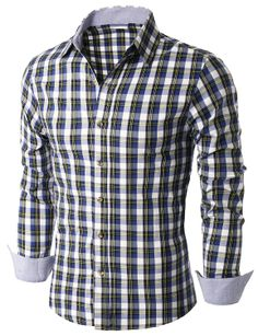 Doublju Mens Long Sleeve Check Print Shirts (KMTSTL0178) #doublju