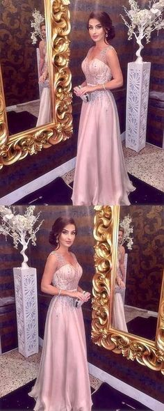 Sparkly Beading Prom Dress, V neck A Line Prom Dress, Sleeveless Long Formal Party Dress 2018 #promdress #longpromdress #elegantpartydress #uniqueeveningdres #simplepromgown #RosyProm #pinkpromdress #promgown