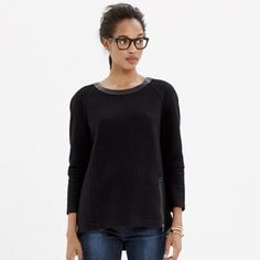 """Madewell Leather-Trim Wool Sweatshirt Tunic This sculptural piece is a modern take on the crew neck sweatshirt. The leather trim collar is in lovely shape, this piece has only been worn once and is free of rips, stains or tears, and comes from a smoke-free, pet-free home. Size Medium, 21"""" pit-to-pit, 24""""H shoulder-to-hem, zipper detail is 7""""L. Made of Wool/viscose, dry clean only, Madewell Tops Tunics"""