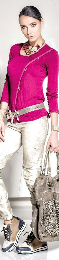 @roressclothes clothing ideas #women fashion pink jumper, white jeans