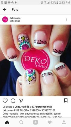 UÑAS Great Nails, Cute Nails, Hair And Nails, My Nails, Hello Nails, Mandala Nails, Magic Nails, French Tip Nails, Nail Envy
