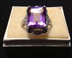 14 Kt White Gold Collectible 1920s Flawless Amethyst Ring! Size 8 3/4
