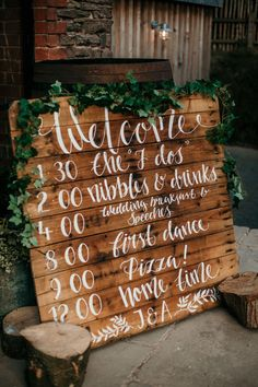 Dewsall Court Wedding Green Details And Foliage With Bride In Fishtail Gown 'Adele' By Augusta Jones With Images From Chris Barber Photography Wooden Palette Order of the Day Sign with White Calligraphy & Greenery Garland Pallet Wedding, Wedding Signage, Diy Wedding, Wedding Favors, Rustic Wedding, Wedding Day, Decor Wedding, Wedding Order Of Events, Wooden Wedding Signs