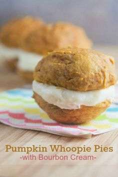 Pumpkin Whoopie Pies with Bourbon Filling from @Lauren Davison Davison Davison Davison Keating {Healthy. Delicious.}  | pumpkin recipes and desserts